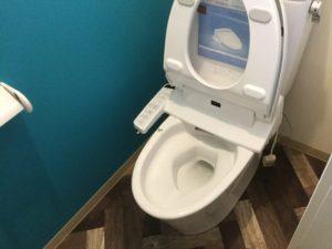 トイレも鮮やかな青緑の壁紙とモダンなフローリングに変更しました