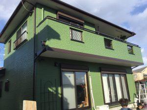 外壁塗装後綺麗なグリーン